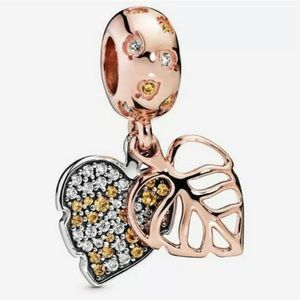 Jewelry - NEW•Rosegold Double Leaf DIY charm